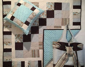 In Stock: Baby Quilt in Blues and Browns with Diaper Bag and Pillow Case Baby Shower Set 15051