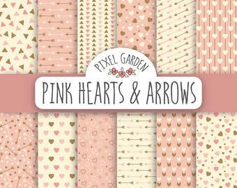 Pink Hearts Digital Paper Pack. Heart Scrapbooking Paper. Pink Arrows Digital Clip Art. Gold, Pink & Cream Mother's Day Printable Paper.