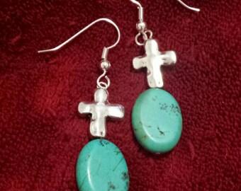 Dangle Earrings Cross With Turquoise Stone.