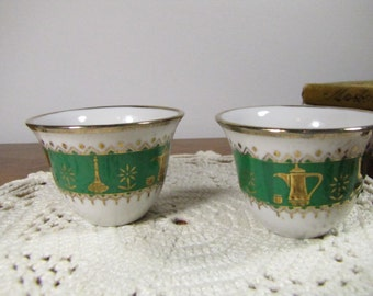 Two (2) Miniature Vintage Handless Porcelain Teacups - Green, White and Gold