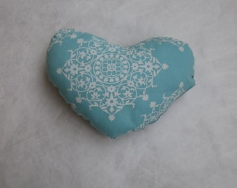 Small sized, soft heart cushion - blue