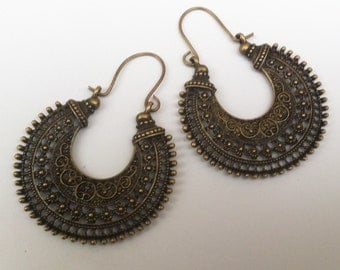 Tribal Statement Earrings , Bronze Earrings , Large Hoop Earrings , Tribal Earrings , Boho Earrings , Large Earrings , Handmade Jewelry