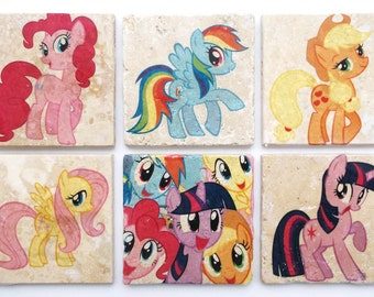 Brony My Little PONY Friendship is Magic Coasters/Tiles set of 6—perfect gift for any BRONY fan!