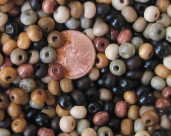 "Roundish 5mm x 6mm Wooden Beads- ""Pebble Beach"" Color Mix- * 100/ 500/ 1000*- Eco-Friendly Beads Made from a Renewable Wood Source"