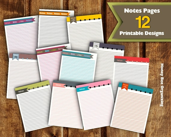 Printable notes pages printable note paper diy notes pages for Construction organizer notebook