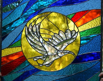 Soaring Colors Stained Glass Window panel. Original design.OOAK