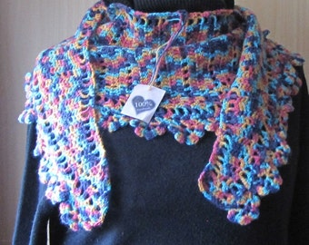 crochet shawl stole multi