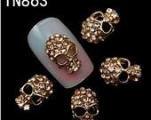 DIY nail art  10Pcs/Pack Rhinestones Nails Studs With crystal  Skull 3D Nail Art Decorations
