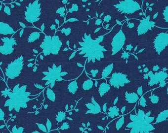 Navy Turquoise Floral from Amy Butler's Violette Collection by Free Spirit