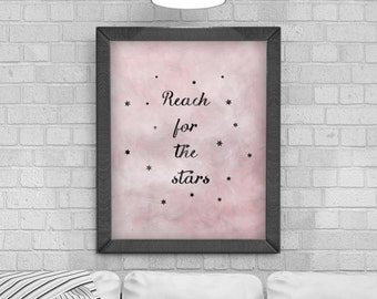 Digital Download 'Reach for the Stars' Typography Poster, Printable Art, Instant Download, Wall Prints, Digital Art, typography quote