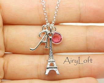 Silver Eiffel Charm Necklace, Paris Eiffel Tower Necklace, Personalized Initial Necklace, gift for Mom, Grandma, little gift,