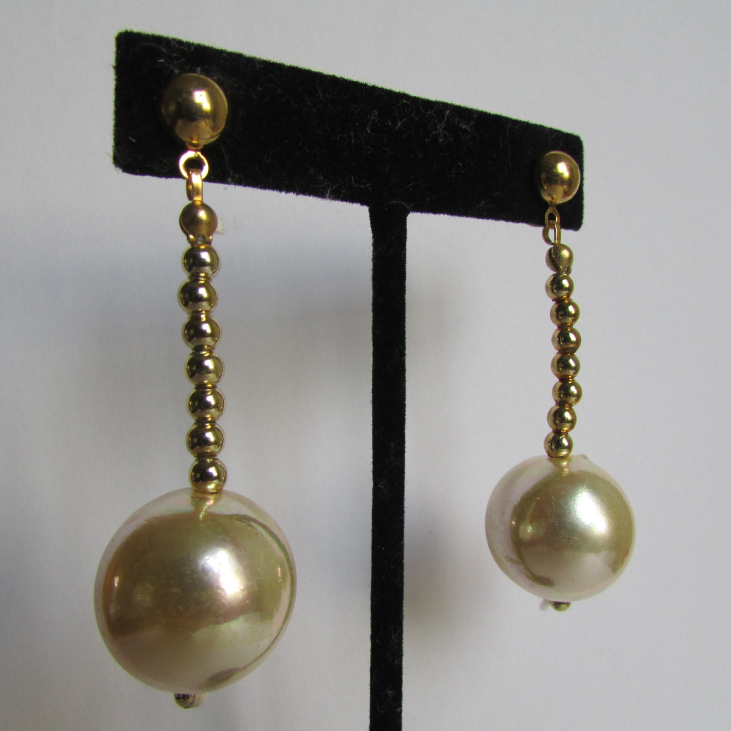 vintage earrings faux pearl drop earrings 90s by cruzvintage