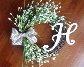 Grapevine Wreath with Monogram - White Flowers - Chevron Bow - Rustic Decorations - Front Door Decorations - Country Chic - Mothers Day Gift