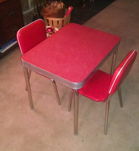 1950s child size retro vintage red formica kitchen table and chairs - Formica Kitchen Table