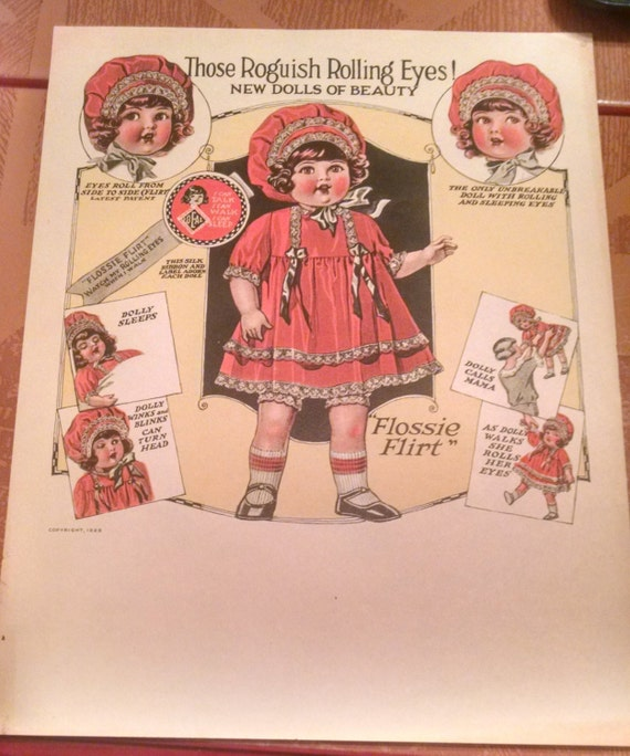 Vintage 1920s Ideal Flossie Flossy Flirt Doll All Original Display Signage Sheet
