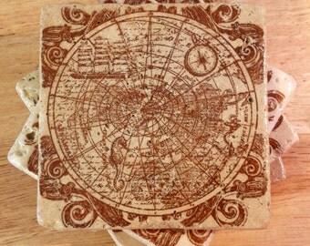 Map Coasters ~ Set of 4 Stone Coasters ~ Old World Map Coasters ~ Stamped Coasters~ Tile Coasters