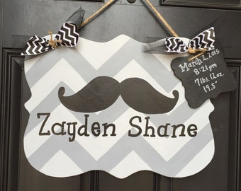 Mustache and Chevron Hand Painted Wooden asign