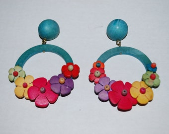 Retro Flower Hoop Earrings Large Dangle