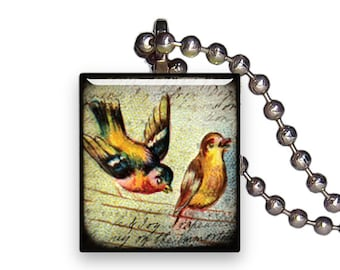 Vintage Yellow Goldenrod Bird - Reclaimed Scrabble Tile Pendant Necklace