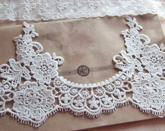 White Floral Lace Trim Embroidery Hollow Out Lace Trim 6.29 Inches Wide 1 Yard L0328