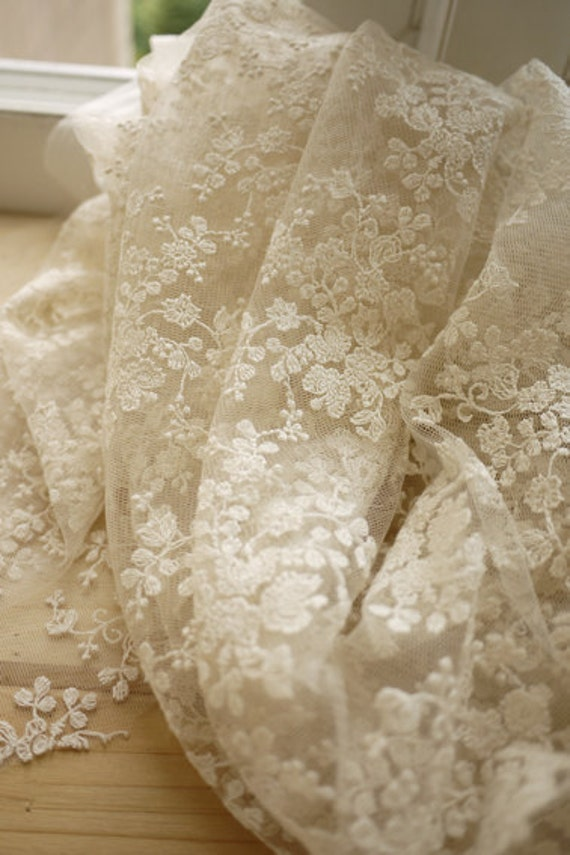 Ivory Lace Fabric Floral Embroidered Tulle Wedding