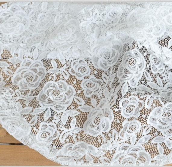 Ivory rose floral lace fabric embroidered