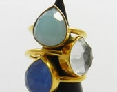 Gemstone Stackable ring,Blue chalcedony, Aqua chalcedony, Crystal quartz pear gemstone ring,Brass 18k gold vermeil ring