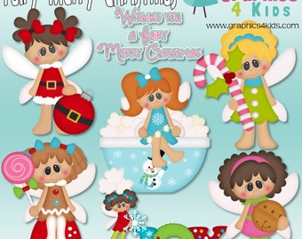 Fairy Merry Christmas Digital Clipart - Clip art for scrapbooking, party invitations - Instant Download Clipart Commercial Use