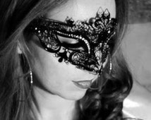 New Masquerade Mask, Metal Filigree Crown,Laser Cut Masquerade Ball Mask, Detailed with Clear Swarovski Rhinestones,Masquerade Mask(For Her)