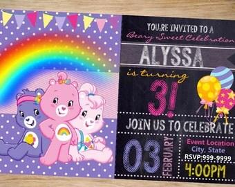 Care Bears Birthday Invitation Chalkboard - Carebears Invitation - Care Bears Invite - DIGITAL