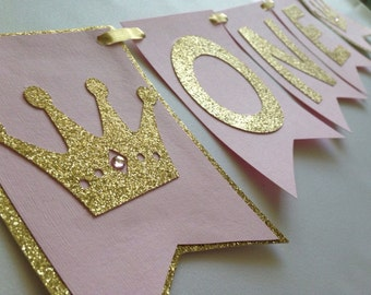 One Highchair First Birthday Banner, Pink and Gold, Princess Banner, Crown Banner, 1st Birthday Banner, Highchair Banner
