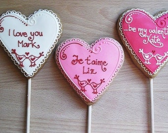 Personalized  Heart Cookie Pop / Valentines Day Gift