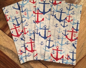 Nautical Anchor Napkins in Blue white and red-Set of 2 or 4