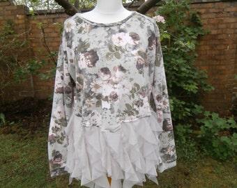 Upcycled Sweater Dress 'Woodland Fairy' UK size 16/US size 12