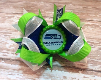 Seattle Seahawks Inspired Hair Bow