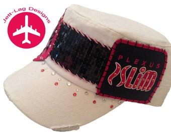 Plexus Slim handmade hat with Swarovski crystals & pink leopard print peace sign