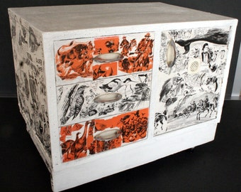 Collaged wood chest of drawers