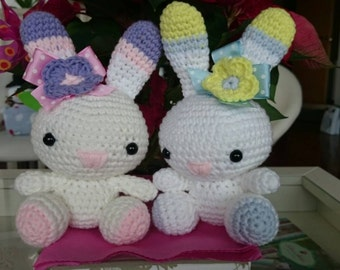 Couple of amigurumi bunnies