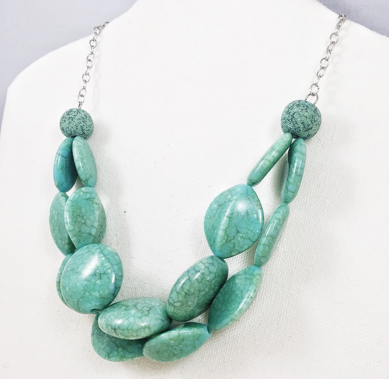 clearance chunky turquoise necklace faux turquoise blue