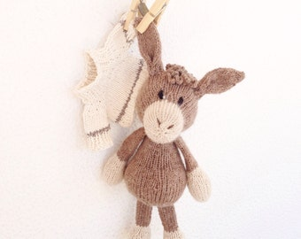 made to order - soft plush - handknitted - newborn gift - baby toy - nursery decor - Igor the curious donkey
