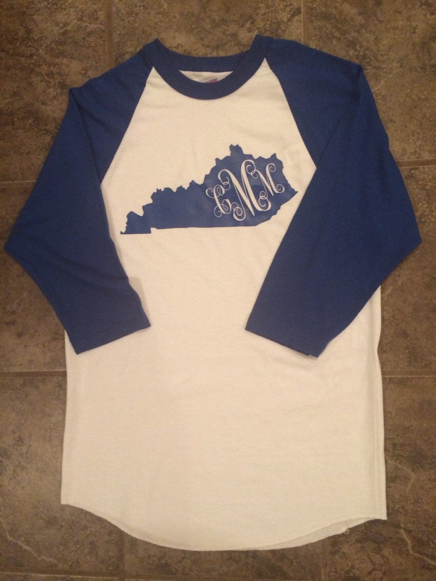 Royal blue kentucky baseball t shirt with monogram for Custom t shirts lexington ky