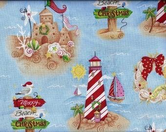Christmas at the Beach Lighthouse Sand Castle Curtain Valance