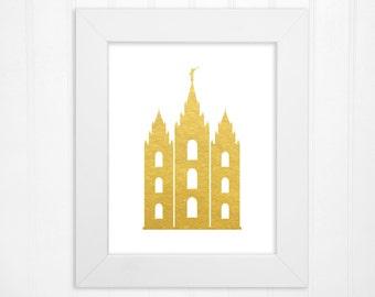 Salt Lake LDS Temple Faux Gold Foil Print or Faux Silver Foil Print - LDS Temples, Temple Art - LDS Wall Art, Home Decor - 5x7, 8x10, 11x14