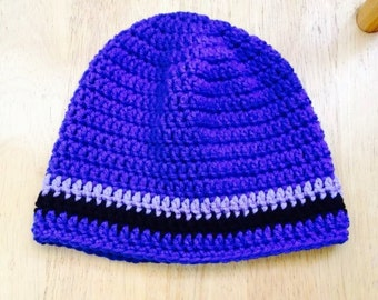 Royal blue beanie hat with stripes of purple and black for gentlemen