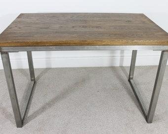 Remington Russell Oak & Steel 4ft Industrial Style Oak Office Desk Table