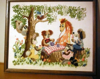 """Children's Tapestry """"Picnic with Friends"""" 70's"""