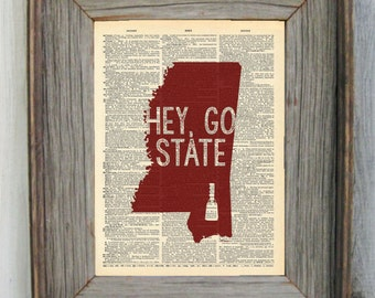 Mississippi State Dictionary Art Print - Hey, Go State