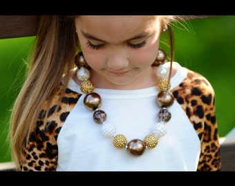Leopard Cream and Gold Necklace