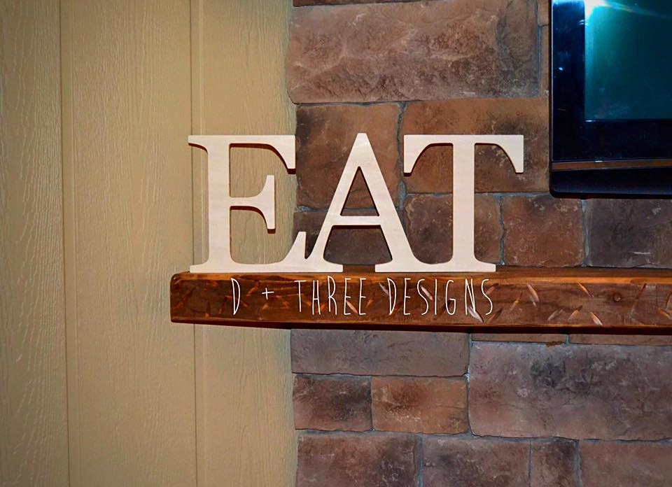 Wood eat sign kitchen sign wooden letters eat shelf for Kitchen letters decoration