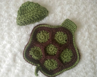 Crochet newborn turtle photography prop baby turtle outfit newborn turtle costume